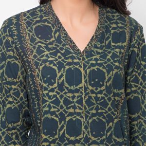 otton Dabu Printed Aari Embroidered Long Kurta