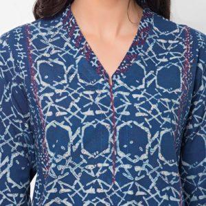 Cotton Dabu Printed Aari Embroidered Long Kurta