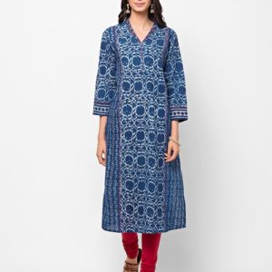 Cotton Dabu Printed Aari Embroidered Long Kurta