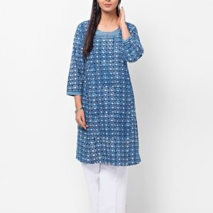 Cotton Dabu Printed Zari Mini Kurta