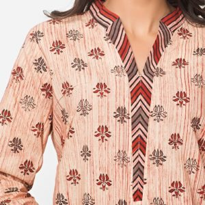 Cotton Printed Chinese Collar Mini Kurta
