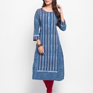 Cotton Dabu Printed Kalidar Long Kurta