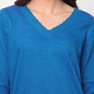 Cotton Top Stitch Detail Mini Kurta