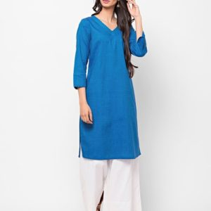 Cotton Top Stitch Detail Mini Kurta