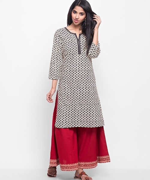 Cotton Printed Solid Trim Mini Kurta