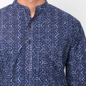 Cotton Cambric Printed Half Sleeves Short Kurta