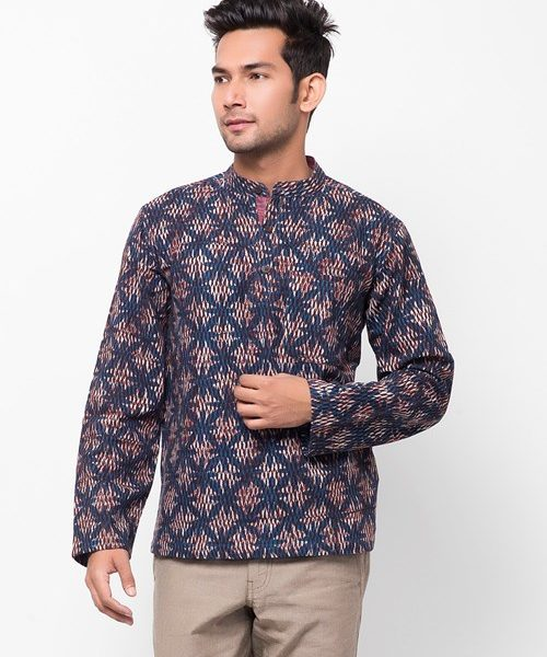 Cotton Printed Chinese Collar Super Short Kurta