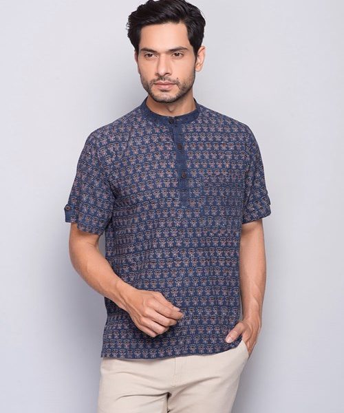 Uploaded ToCotton Ajrak Printed Super Short Kurta
