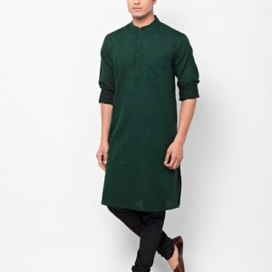 Cotton Dobby Chinese Collar Long Kurta
