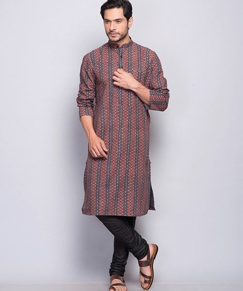 Cotton Ajrak Printed Fitted Long Kurta