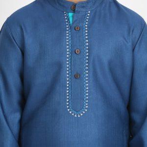 Viscose Tussar Embroidered Neck Long Kurta