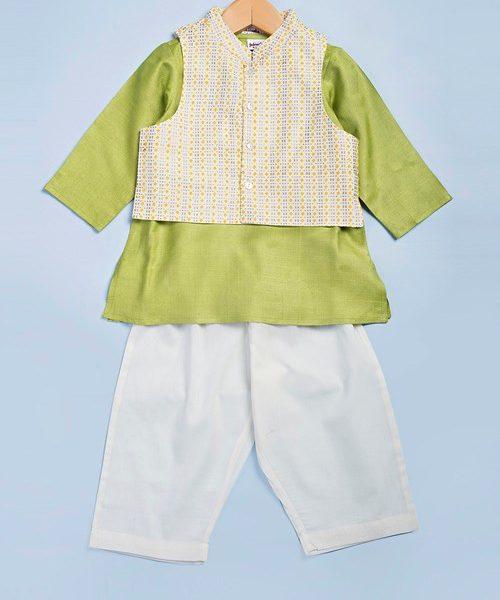 Viscose Tussar Printed Jacket Kurta Set