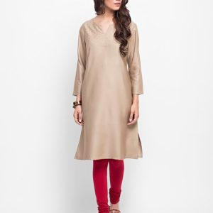 Viscose Tussar Sequin Yoke Long Kurta