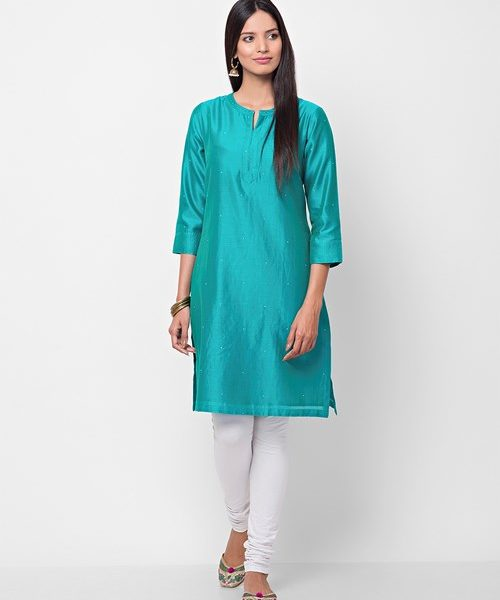Cotton Silk Sequin Detail Mini Kurta