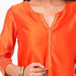 Cotton Silk Zari Cuff Detail Long Kurta