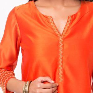 Cotton Silk Zari Cuff Detail Long Kurta
